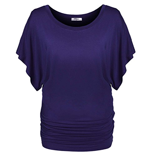meaneor-womens-short-draping-sleeve-pullover-long-tee-shirt-top-with-side-shirring-purple-xxl