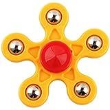 Baoblae New 360 Degree Penta-Spinner Hand Finger Spinner Stress Reducer Desk Focus Toy For Kids/Adults Yellow