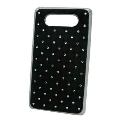"""Funky Exclusive Crystal Rhinestone Studded Case With Chrome Edge Effect For Nokia Lumia 820 - Black (Package Includes: 1 X Screen Protector And Stylus Pen Image""""Gift_Source"""")"""