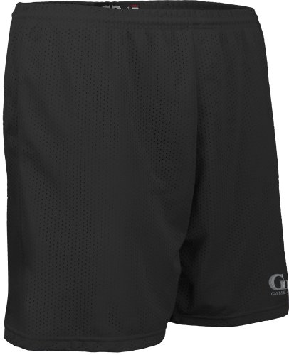 AM6475Y Youth Boy's and Girl's Solid Color Performance Nylon Mesh Sport Short (Medium, Black)