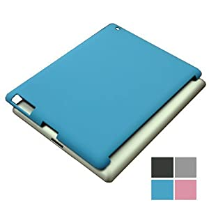 KHOMO: Blue HARD Rubberized (not cheap soft TPU silicone) Polycarbonate Case Compatible with Apple iPad 2 and new iPad 3 Smart Cover (Smart Cover Companion Case)