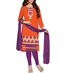 Tanmay Fashions Women's Cotton Unstitched Dress Material(Orange_Free Size)