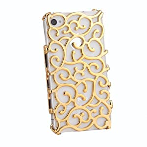Electroplating Hollow Pattern PC Case Hard Back Cover for iPhone 4S/4, Gold