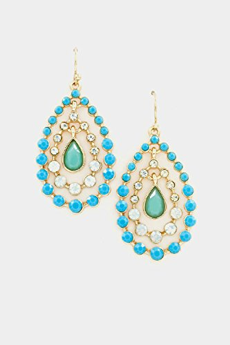 Glitz Finery Triple Tear Drop Crystal And Beads Dangle Earring (Turquoise) front-732126