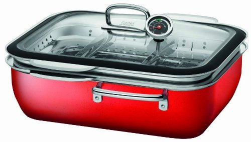 Silit 1738174831 Steam Cooker 34 Cm With Lid Ecompact Energy Red