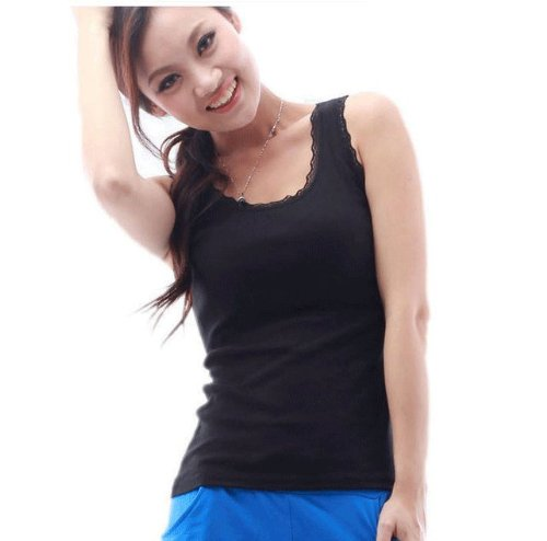 LY® New HOT Fashion Soft Style Cotton Tank Vest Top for Ladies T-Shirt with Delicate Lace 5 colors(black)