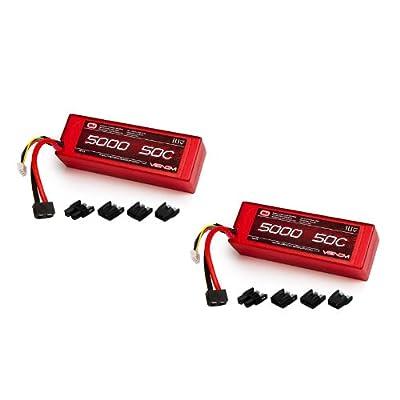 Venom 50C 3S 5000mAh 11.1V LiPo Hardcase Battery with Universal Plug (EC3/Deans/Traxxas/Tamiya) x2 Packs