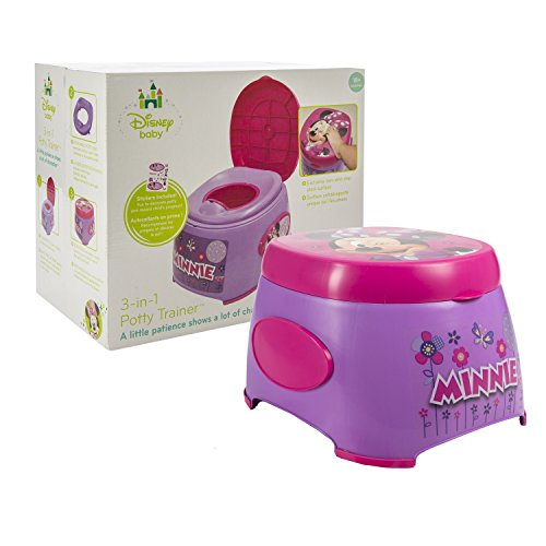 Disney Minnie Mouse 3-in-1 Potty Trainer - Functions as Potty Chair, Potty Seat, and Step Stool - Portable - Easy Cleaning - Pink and Purple - For 18 Months and Up