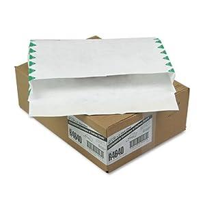 Quality Park R4640 Quality Park Tyvek Open Side Exp Envelopes, 1st Class, 10x15x2, White, 100/Ctn