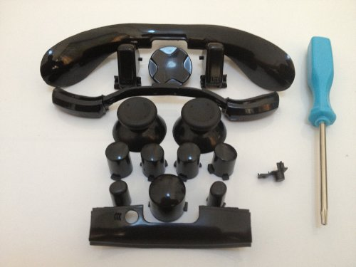 Xbox 360 Complete Black Mod Kit Thumbsticks D-Pad Sync Lb/Rb Bumper Lt/Rt Trigger And Abxy/Guide Buttons