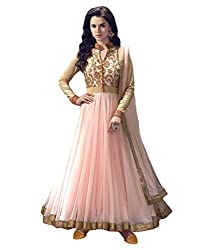 Aaradhya Women'S Net Anarkali Unstitched Dress Material - AA_ART_002_ANA_PEACH_Gold