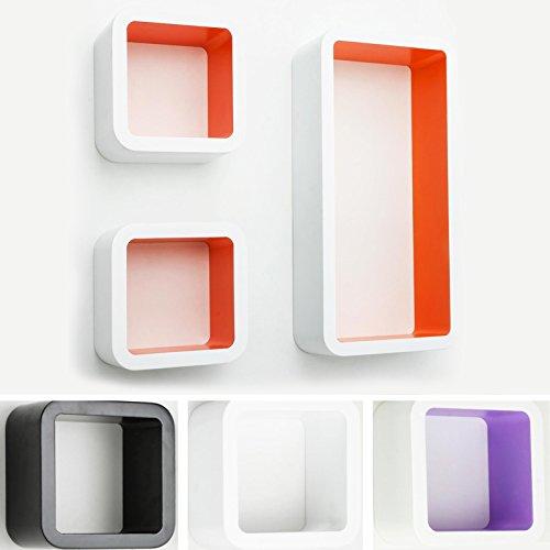 casa pura® Design Wandregal Oxford | Set aus 3 Würfeln...
