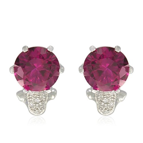 Sterling Silver Round-Shaped Created Ruby with Round-Cut Cubic Zirconia Accent Earrings