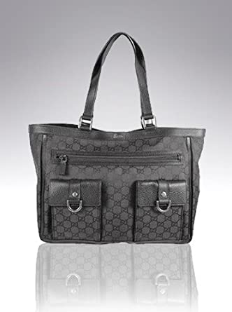 Gucci Abbey Tote Black GG Monogram Nylon Leather Bag