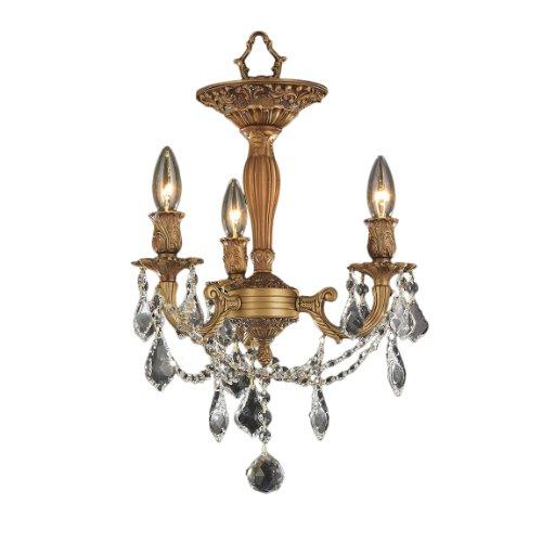 Worldwide Lighting W33302Fg13-Cl Windsor 3-Light With Clear Crystal Ceiling Light, Medium, Gold