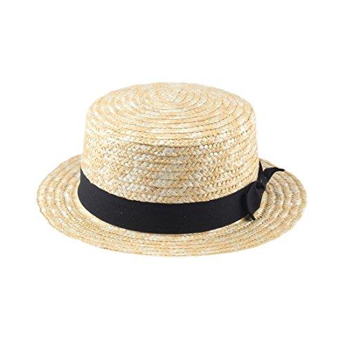 1x-unisex-summer-beach-sunhat-flat-top-straw-hat-boater-cap-black-ribbon-band