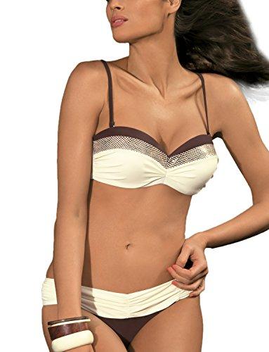 Marko Stella M-301 Bikini Di Due Pezzi, M, Ecru-Brown