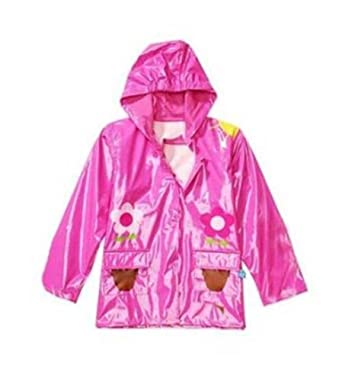 Little Girl's Pink Flower Rain Coat Size Small - 6/7