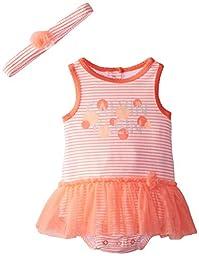Calvin Klein Baby Girls\' Peach Print Sunsuit with Headband, Multi, 24 Months
