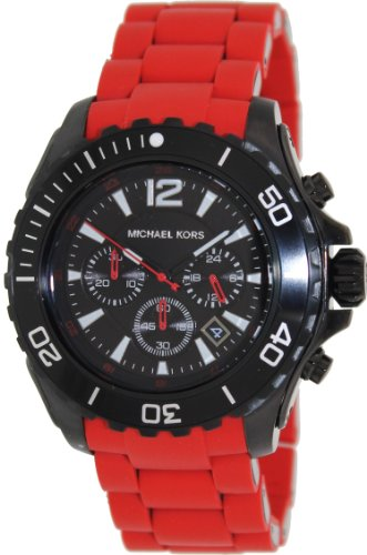 Michael Kors Men's Chronograph Red Silicone Wrapped Watch MK8212