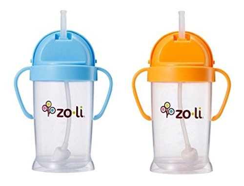 Zoli Baby Bot XL Straw Sippy Cup 9 oz - 2 Pack, Blue/Orange