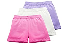 Sparkle Farms Girls Under Dress Shorts, 3-pack A Girls Rule-Pink/White/Lilac 7