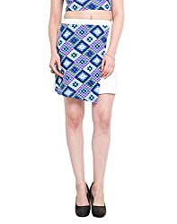 Abstract Print Panel White Skirt X-Large