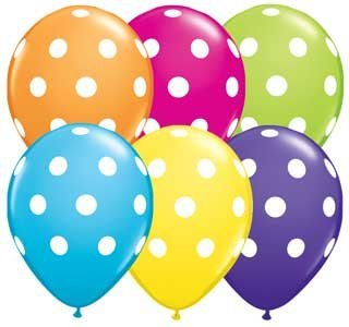 "Single Source Party Supplies - 11"" Big Polka Dots Tropical Assortment Latex Balloons Bag of 10 - 1"