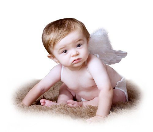 FashionWings (TM) Newborn Baby White Feather Angel Wings Bonus Poster Frame