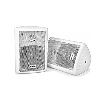 Power Dynamics Paire de haut-parleurs stéréo avec fixation murale pour l'intérieur ou l'éxtérieur Blanc env 10 cm 80 W