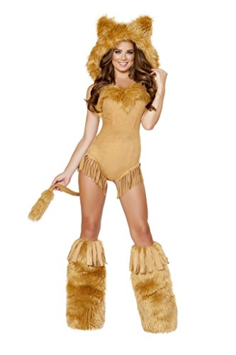 [1pc Vicious Lioness Costume Bundle with Women's Stockings] (Woman Lioness Costume)