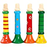 seguryy 1pc 13cm Colorful Wooden Musical Instrument Trumpet Hooter Bugle Suona Sound Toys for Baby Kid Children