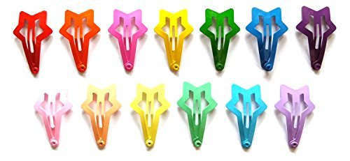 24 Pcs Small Star Hair Snap Clip for Toddler Girl 30 Mm (Mix Bright and Pastel) 13 Coors by Little Dream
