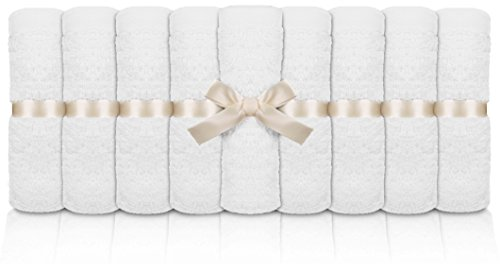 Utopia Towels Premium Bamboo Baby Washcloths (White, 10 Pack, 10x10 inches) Extra Soft & Highly Absorbent Towels For Baby's Delicate Skin, Exceptional Gift For Registry and Baby Shower