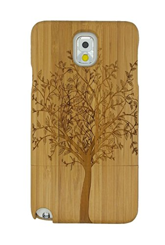 Queens® For Samsung Galaxy Note4 Iv Unique Real Special Unique Real Handmade Natural Wood Wooden Hard Bamboo Shockproof Case + Clearly Screen Protect For Samsung Galaxy Note4 Iv (1-1)