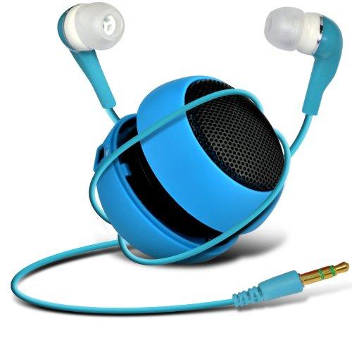 Wiko Darkfull Dual-Sim Mini Capsule Travel Rechargable Loud Bass Speaker 3.5Mm Jack To Jack Input & In Ear Earbud Earphones (Baby Blue) By Spyrox