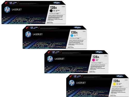 HP 128A Toner Bundle Pack of 4 (Blk, Cyan, Mag and Yellow) - CE320A, CE321A, CE322A and CE323A