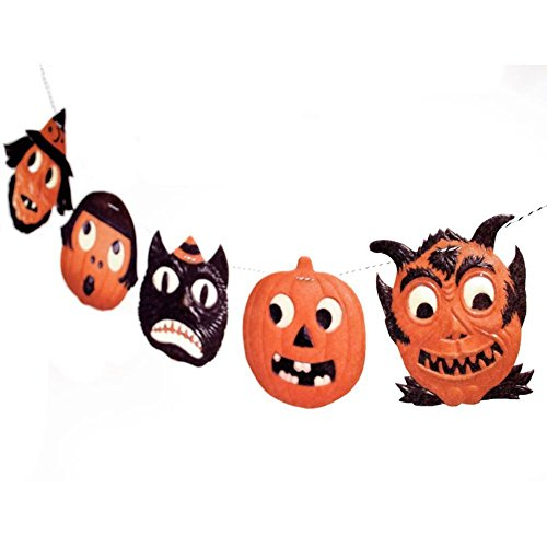 Handmade Vintage Halloween Garland - Jack o Lantern - funny German die-cut reproductions on felt - 2D vintage Halloween decor