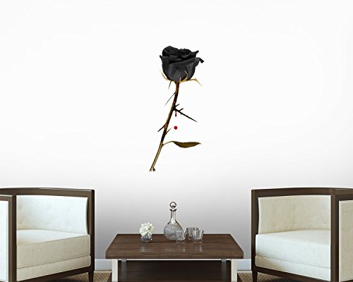 Black Rose Wall Decal - 18 Inches H x 12 Inches W - Peel and Stick Removable Graphic