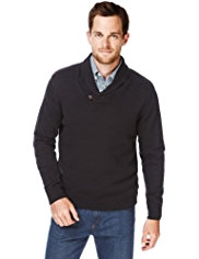 2in Longer Blue Harbour Pure Cotton Shawl Collar Jumper