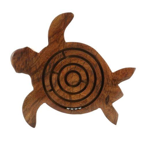 Shalinindia, Wooden Turtle Labyrinth Maze, 5.5 Inch