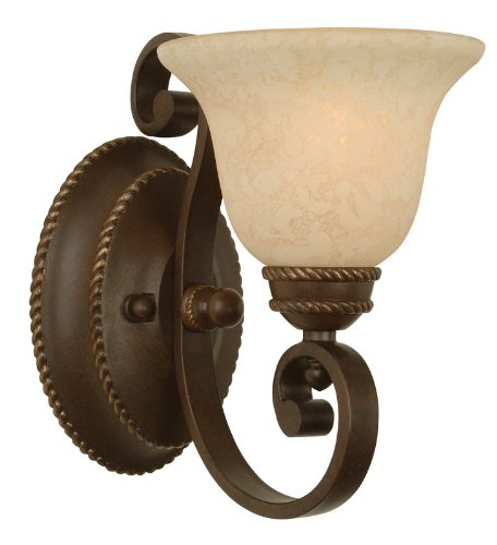 Craftmade 8107Ag1 Bathroom Sconce With Antique Scavo Glass Shades, Aged Bronze Finish