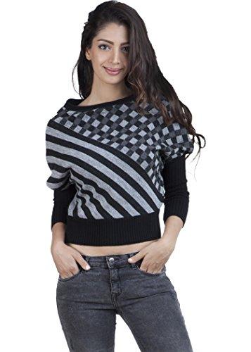 Zovi Women Acrylic Black And Grey Diagonal Striped Sweater