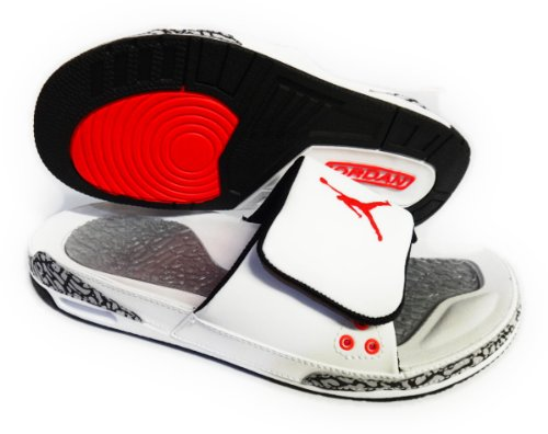 NIKE AIR JORDAN 3 SLIDE (WHITE / INFRARED 23 / WOLF GREY / BLACK) MENS SANDALS 428789-106 SIZE