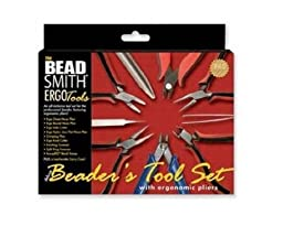 9-Piece Beadsmith Deluxe Jewelry Pliers Ergonomic Tool Kit with Case