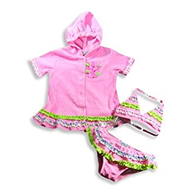 Baby Buns - Toddler Girls Bikini Bathing Suit And Coverup, Pink