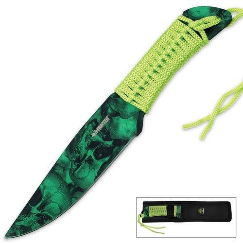 Z Hunter Green Skull Camo Fixed Blade Knife