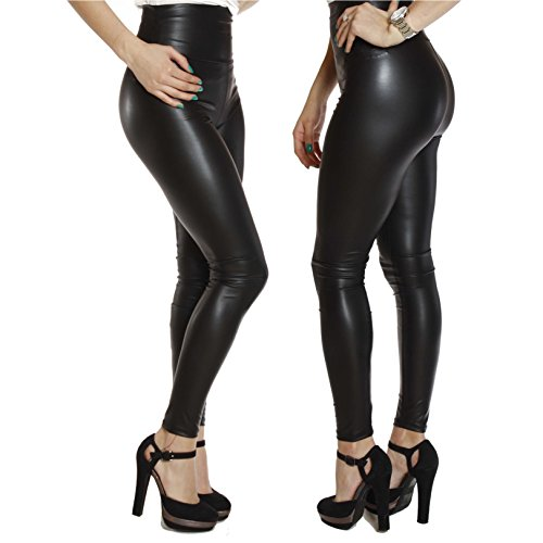 StarrY Womens Sexy Queen Slim Fit Wet Look Metallic Shiny Skinny Stretchy Thick High Waist Faux Leather Leggings Pants Black Size L