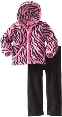 Young Hearts Baby-Girls Infant 2 Piece Zebra Print Polar Fleece Jacket Set, Pink Doll, 12 Months