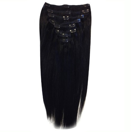 22 inch Jet Black (1). Full Head. Clip in Human Hair Extensions. High quality Remy Hair!. 120g Weight